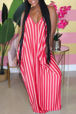 Whatwears coupon: Striped Halter V-Neck Maxi Dress