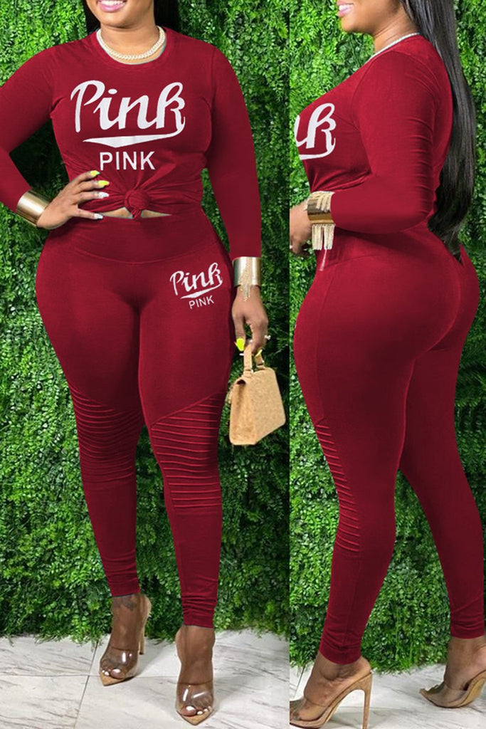 Wrinkled Knotted Letter Solid Plus Size Two Piece Sets