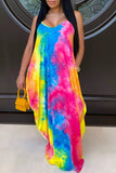 Halter Tie Dye V-Neck Maxi Dress