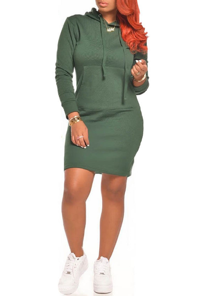 Solid Color Hooded Collar Long Sleeve Mini Dress