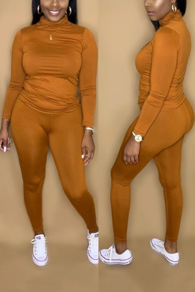 Solid Color Sports High Neck Top & Pants