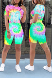 Colorful Tie Dye Cartoon Print Two Piece Sets