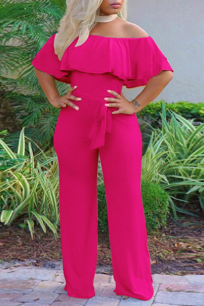 Off The Shoulder Lace-up Solid Jumpsuit