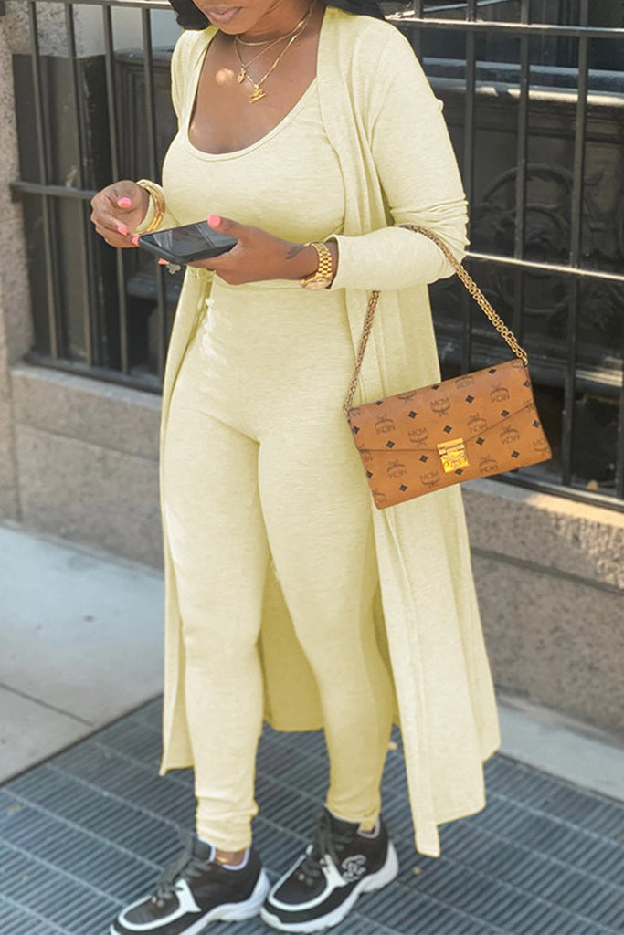 Plus Size Scoop Neck Cardigan & Jumpsuit