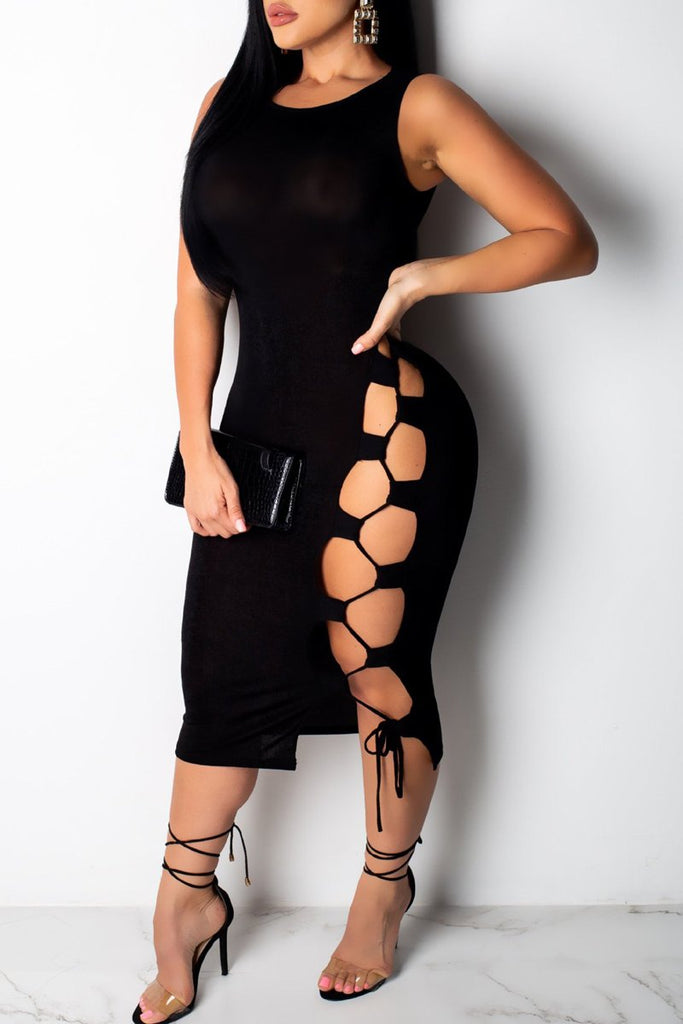 Solid Lace Up Hollow Out Sleeveless Midi Dress