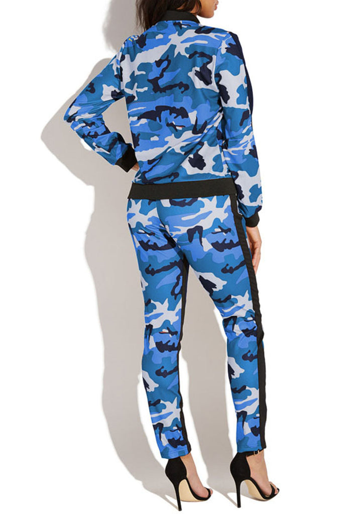 Casual Camouflage Print Zipper Two Piece Outfits