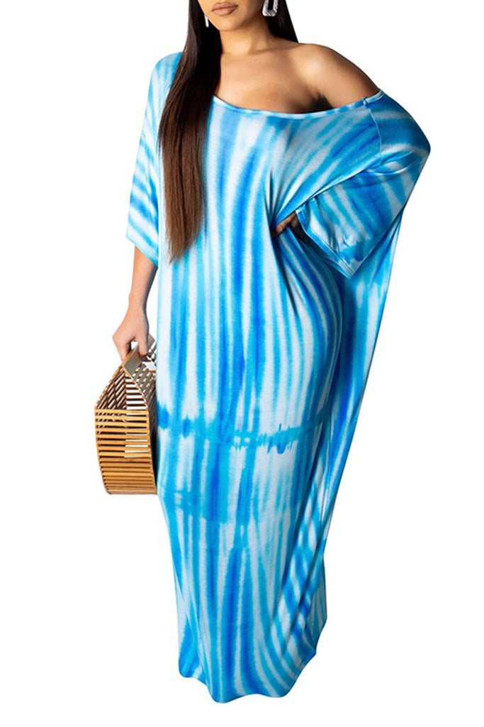 Batwing Sleeve Tie Dye Casual Dress With Belt