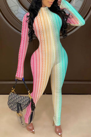 Whatwears coupon: Rainbow Printed Long Sleeve Round Neck Jumpsuit