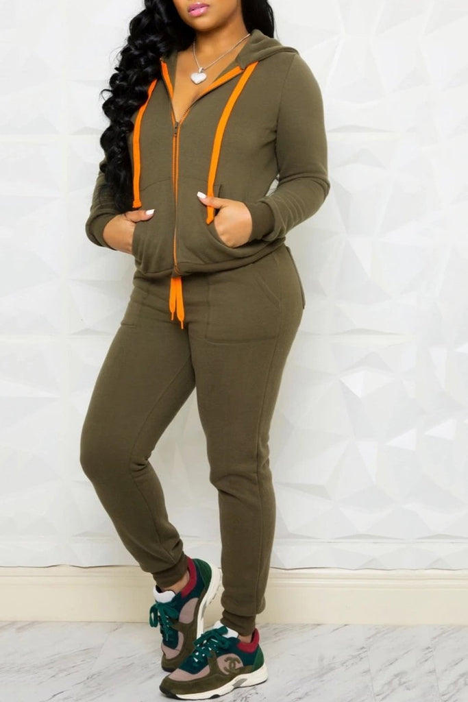 Solid Color Hooded Collar Drawstring Top & Pants