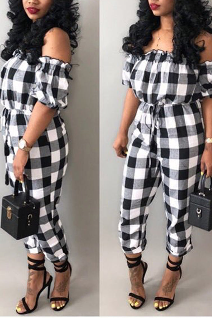 Lattice Printed Off The Shoulder Belted Jumpsuit