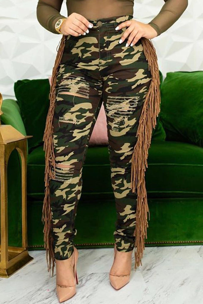 Plus Size Camouflage Printed Hole Distressed Tassel Jeans ...