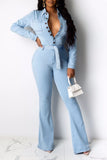 Denim Belted Turndown Collar Jumpsuit