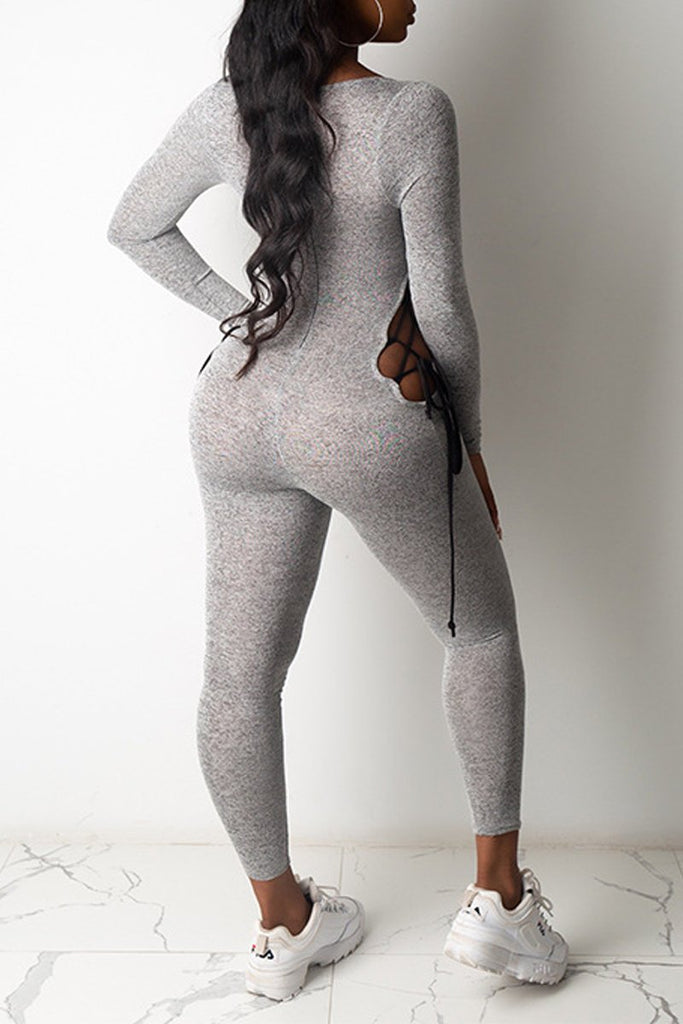 Scoop Neck Side Bandage Bodycon Jumpsuit