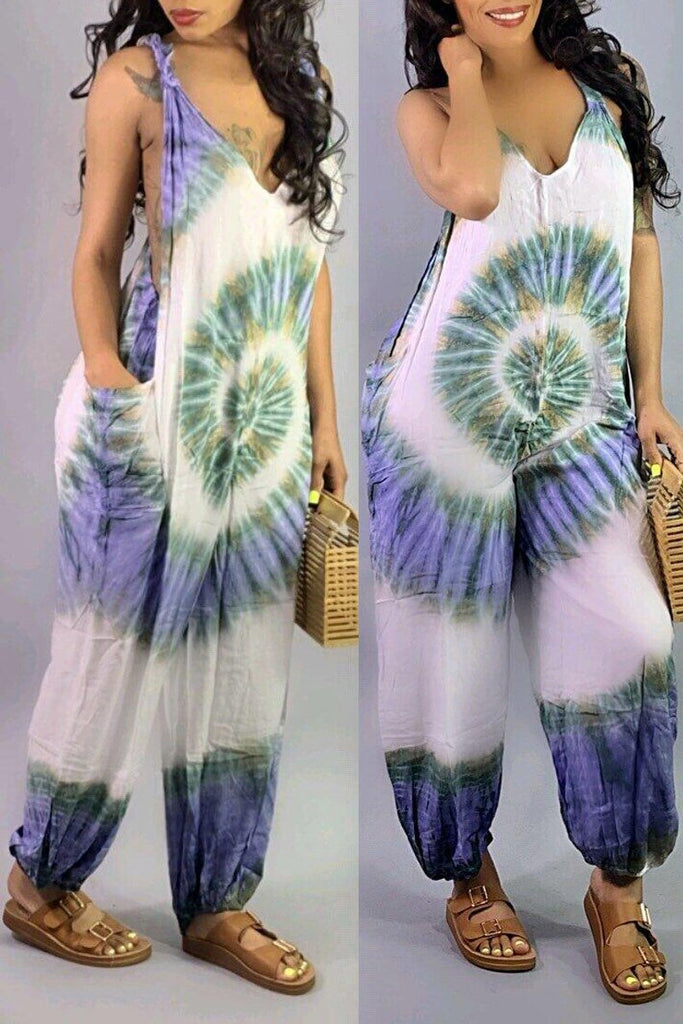 Casual Open Back Digital Print Sleeveless Jumpsuit