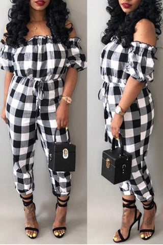 Lattice Printed Off The Shoulder Belted Jumpsuit фото