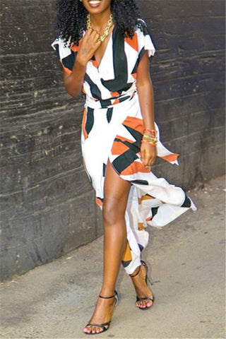 White Black and Tan Wrap Dress