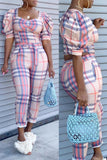 Square Collar Plaid Print Belted Two Piece Sets