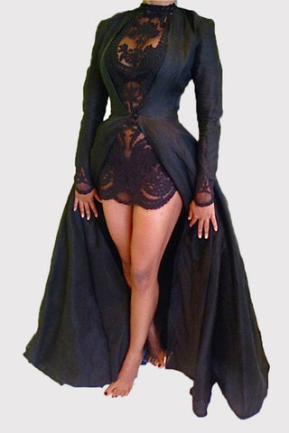 Black Coat and Lace Mini Dress фото