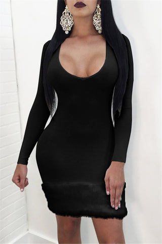 Fur Trim Wiggle Dress