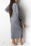High Neck Side Slit Sweater Two Piece Maxi Dress