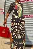 Fashion Print Round Neck Long Sleeve Maxi Dress - WHATWEARS