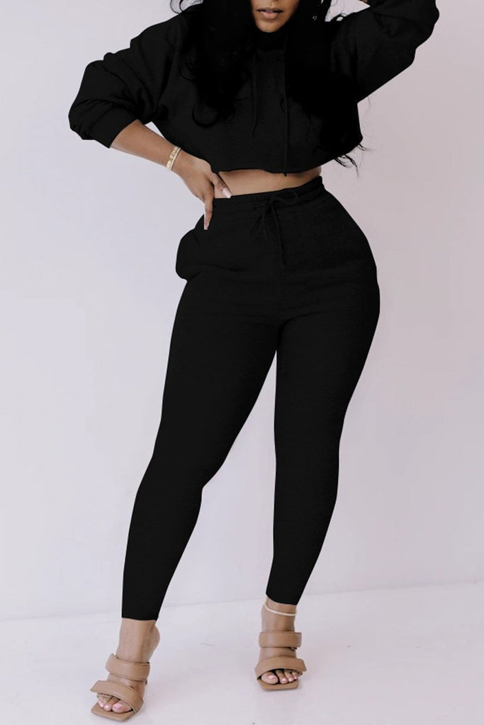 Hooded Collar Solid Long Sleeve Top & Pants