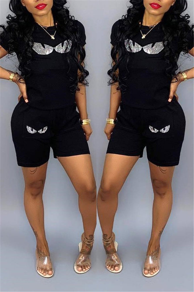Cartoon Design Short Sleeve Casual Two Piece Sets