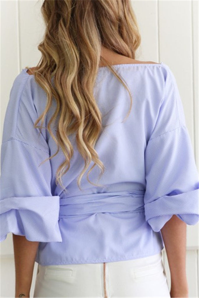 Wrap Over Tie Waist Blouse