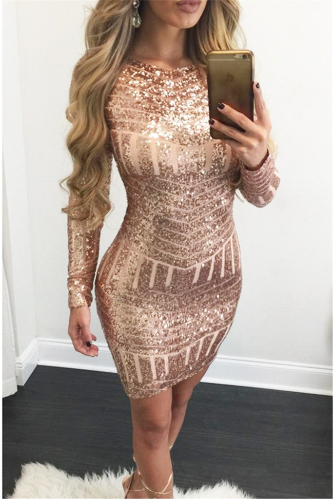 Rose Gold Glitter Wiggle Dress