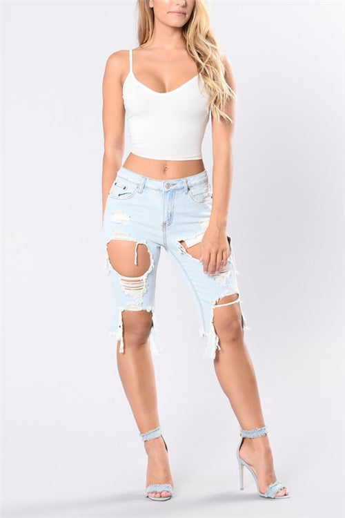 Ultra Distressed Cropped Jeans