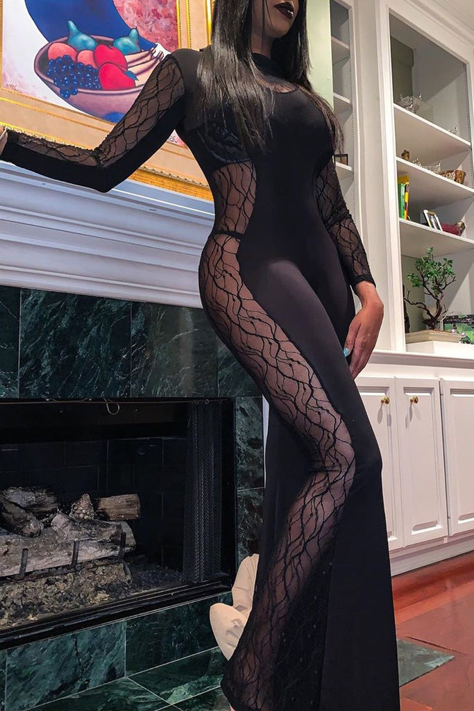 Solid Color See-through Lace Patchwork Long Sleeve Jumpsuit