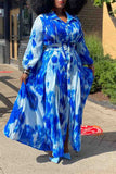 Plus Size Turndown Collar Belted Maxi Dress