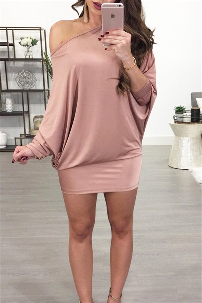 Slash Neck Batwing Dress