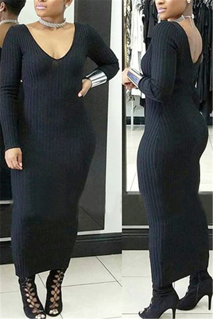 Long Ribbed Wiggle Dress