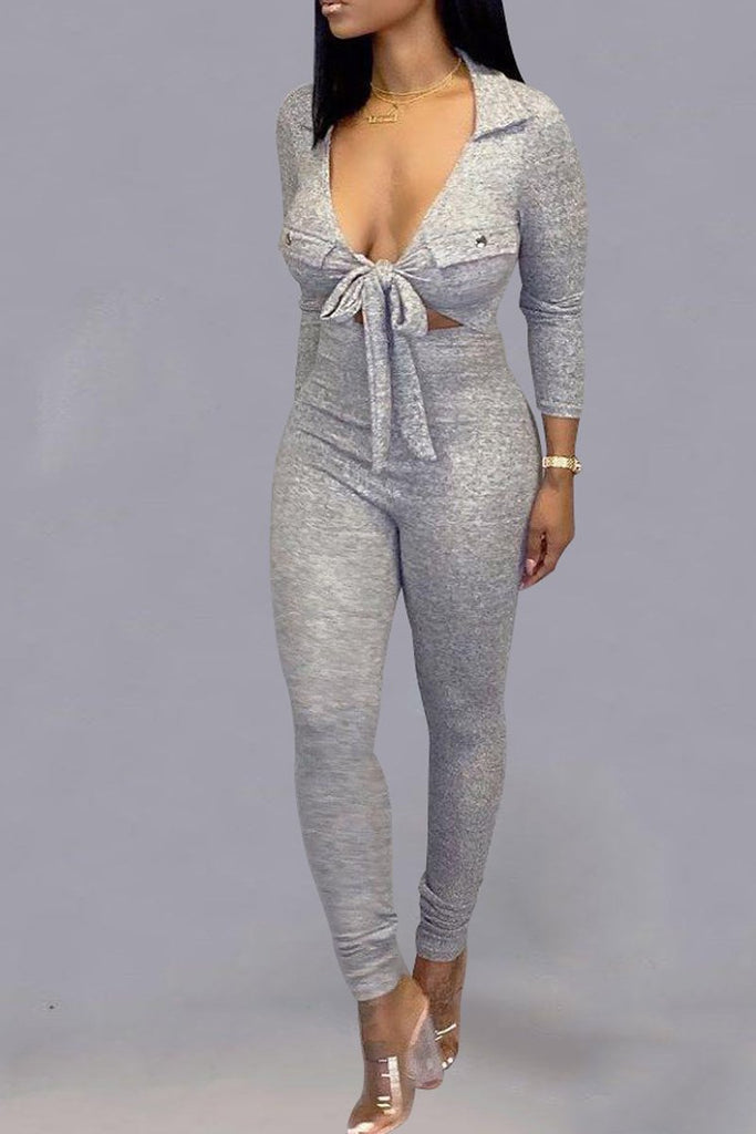 Solid Color Tie Up Long Sleeve Jumpsuit