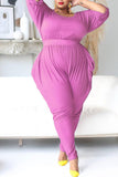 Solid Color Plus Size Pocket Jumpsuit