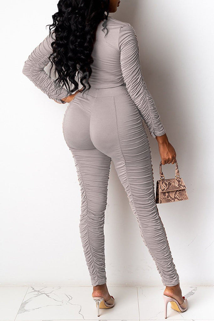Solid Color Pleated Long Sleeve Two Piece Sets
