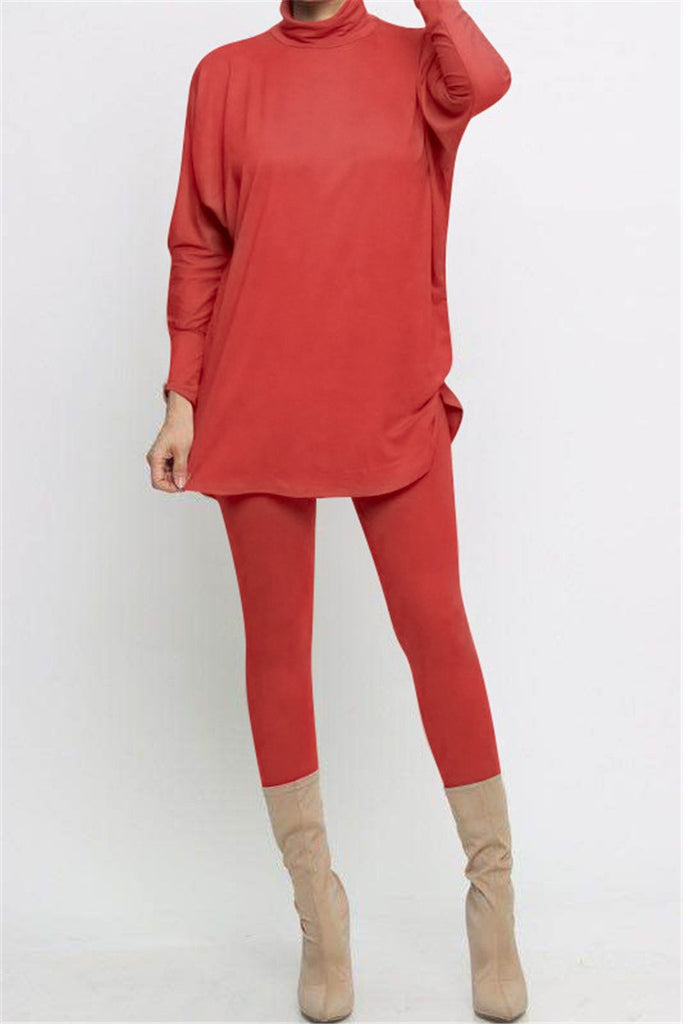 High Neck Solid Color Long Sleeve Two Piece Sets