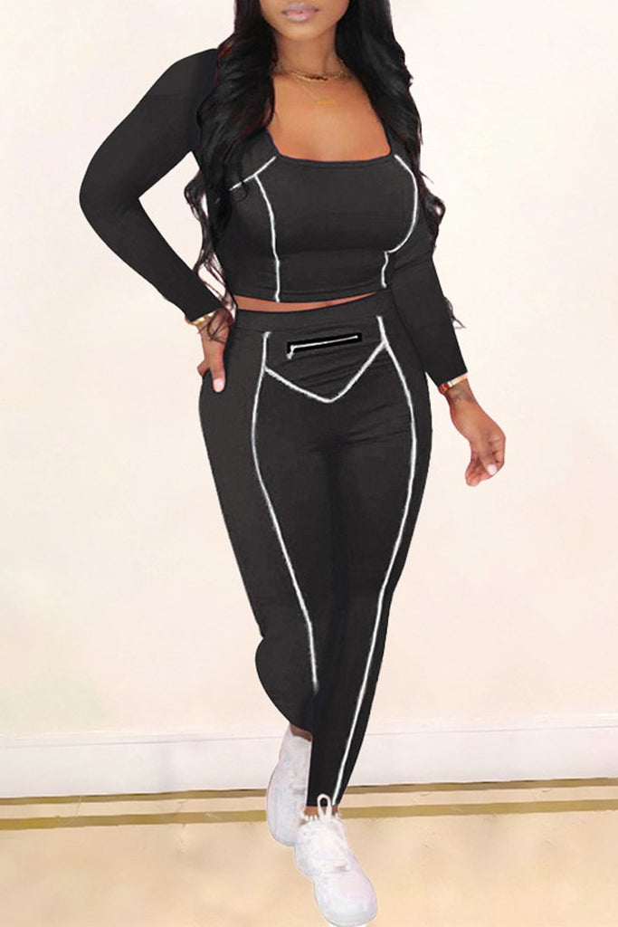 Solid Square Collar Stripe Long Sleeve Top & Pants
