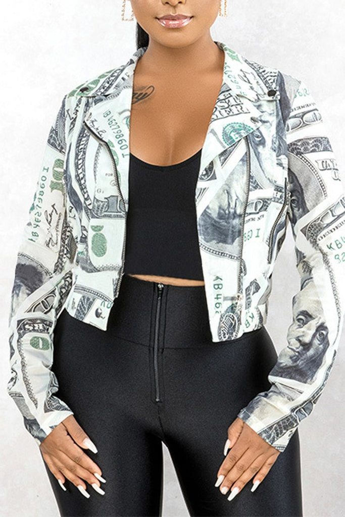 Plus Size Printed Turn-Down Collar Jacket