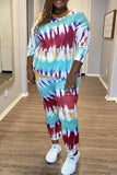 Plus Size Tie Dye Long Sleeve Two Piece Sets