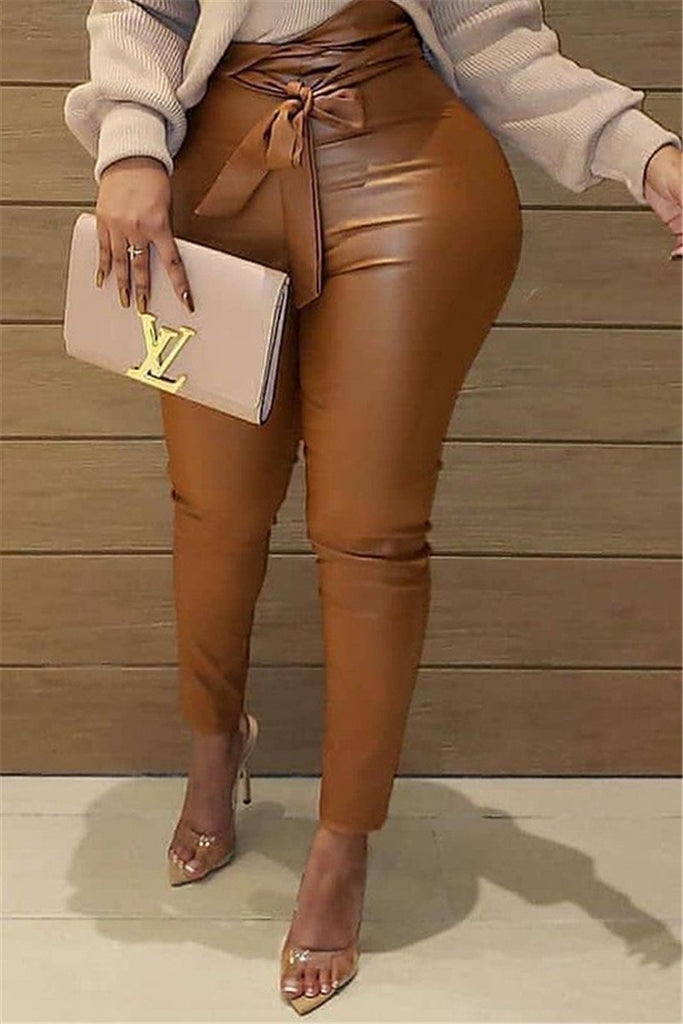 PU Solid Color High Waist Pants