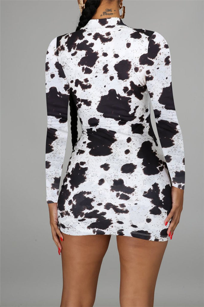 Cow Print Long Sleeve Drawstring Dress