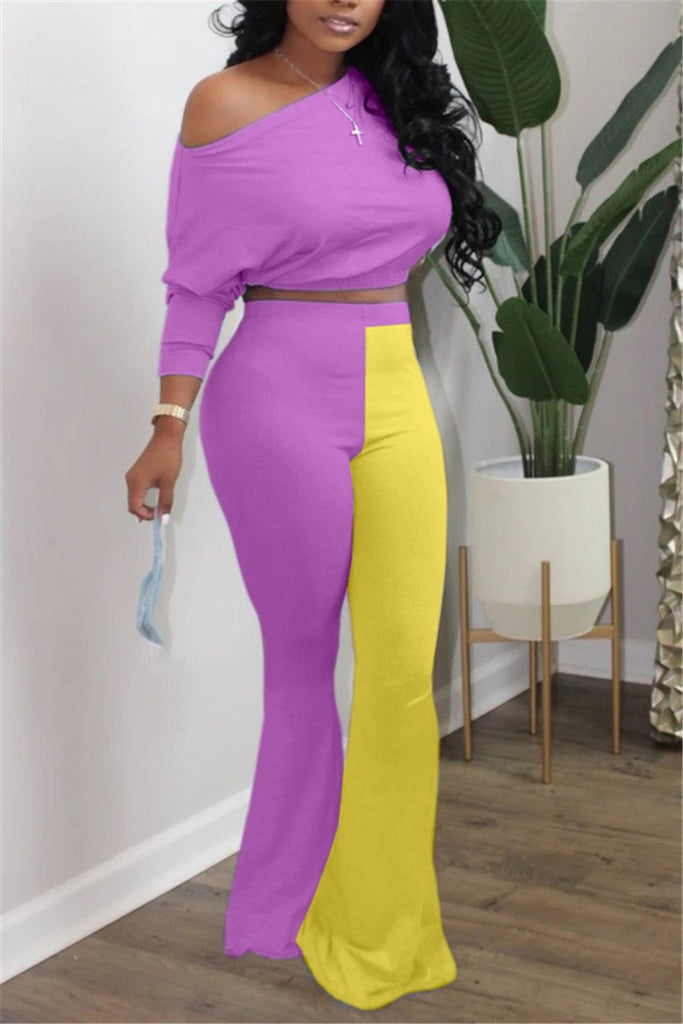 Color Block Skew Neck Flared Two Piece Sets