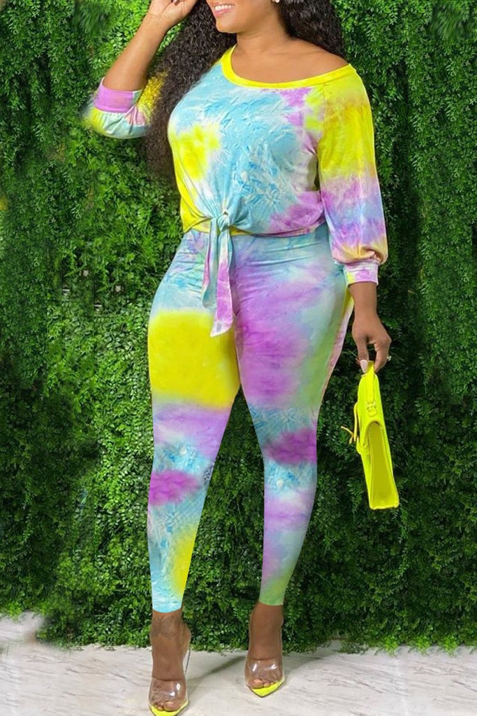 Plus Size Tie Dye Tie Up Two Piece Sets