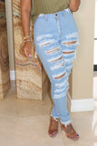 Denim Blue Hole Distressed Jeans