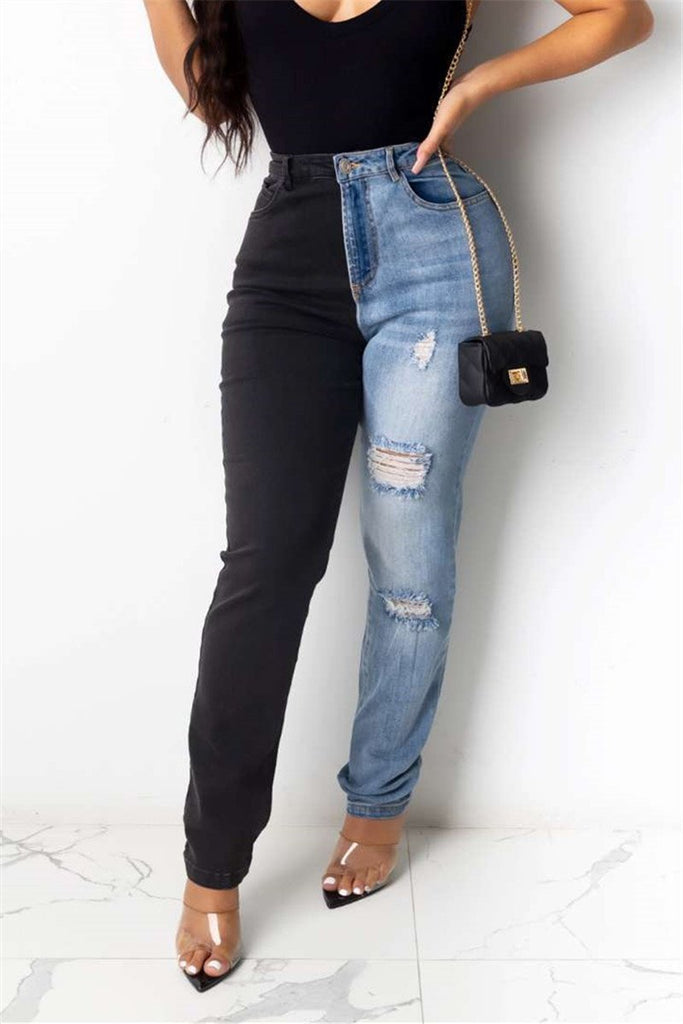 Distressed Color Block Denim Pants