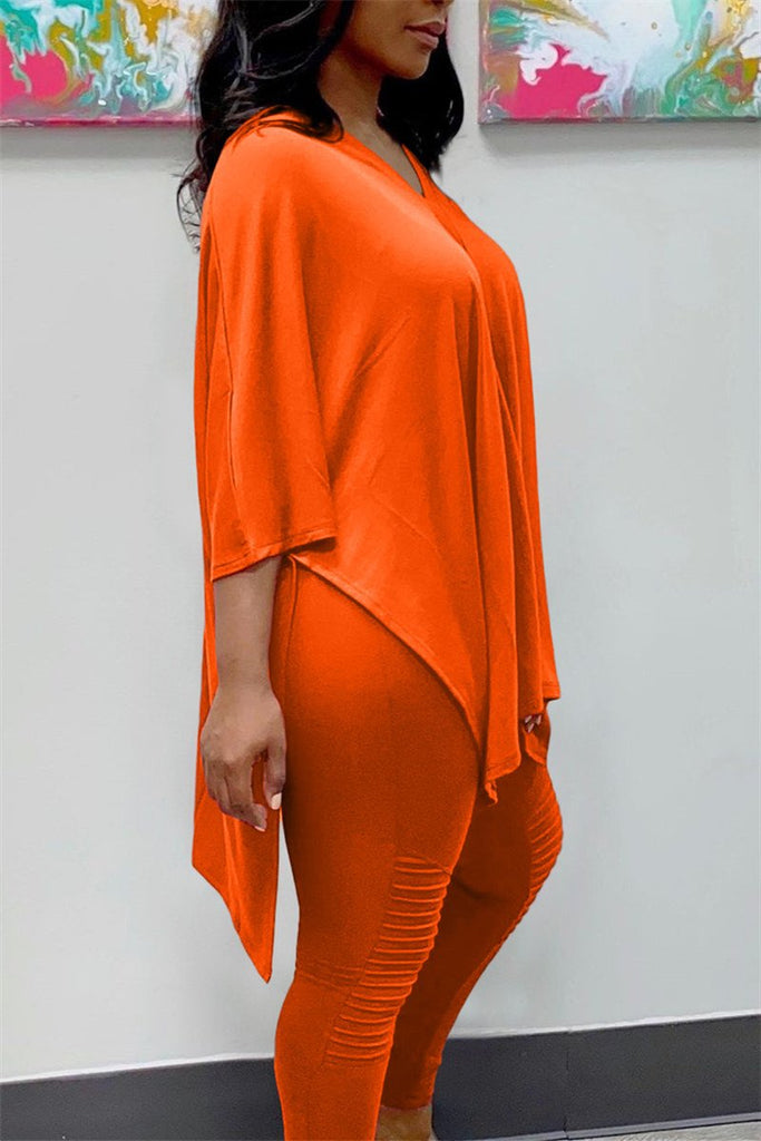Plus Size V Neck Slit Top & Pants