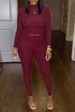 Solid Color Long Sleeve Plus Size Two Piece Sets