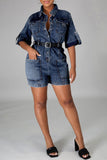Denim Pocket Button Up Lapel Romper